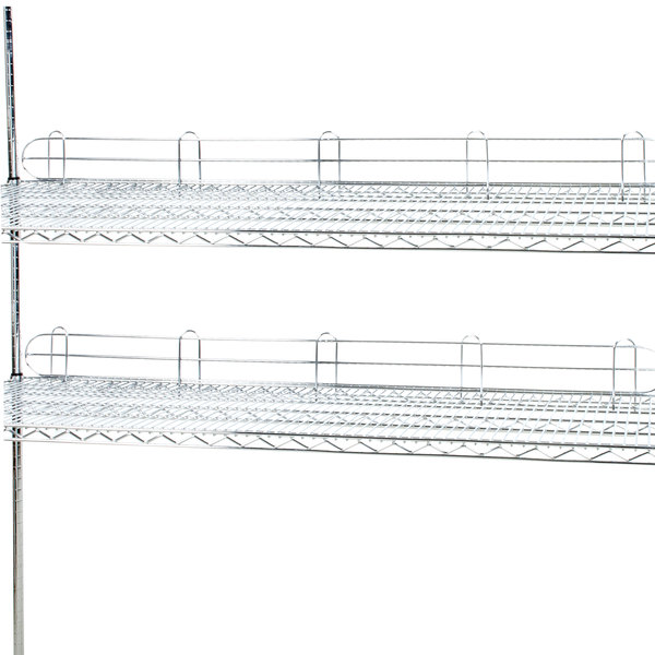 "Regency 72"" Chrome Wire Shelf Ledge for Wire Shelving - 72"" x 4"" Main Image 2"