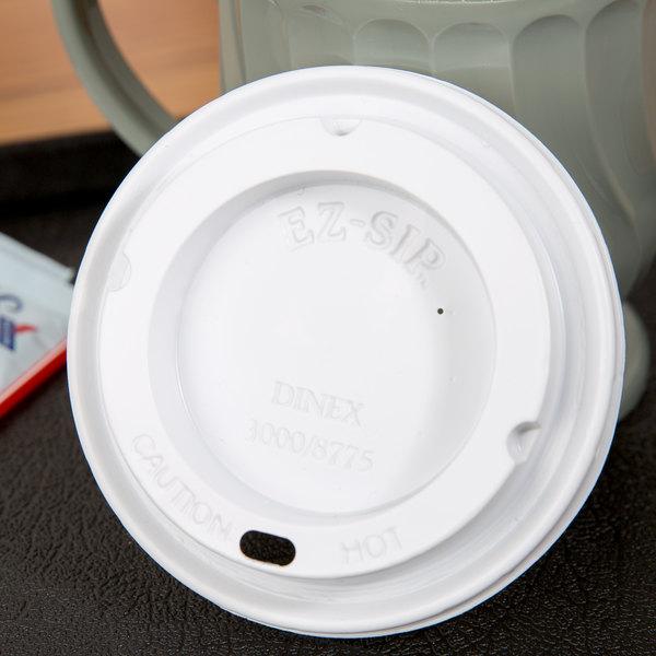 Dinex DX30008775 Turnbury White Disposable EZ Sip Lid for Dinex DX3000 Turnbury 8 oz. Insulated Pedestal Based Mug and DX3200 Turnbury 5 oz. Insulated Pedestal Based Bowl - 1000/Case Main Image 5