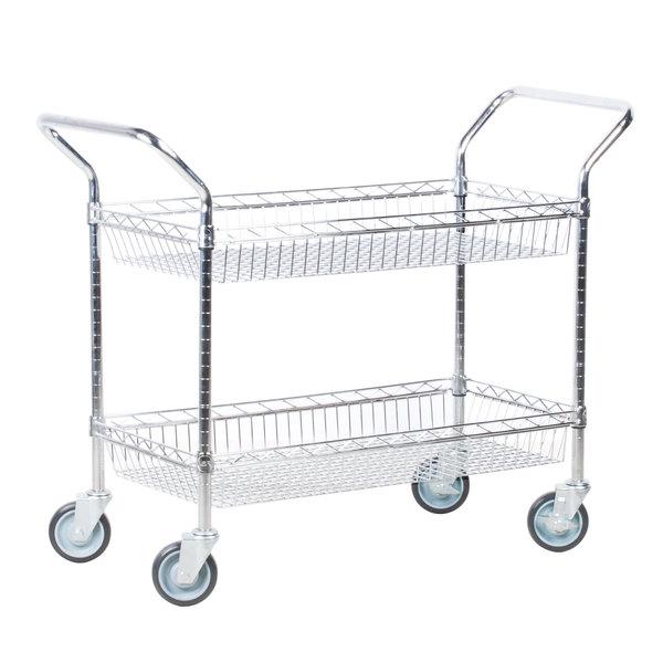 "Regency 18"" x 36"" Two Basket Chrome Heavy Duty Utility Cart"