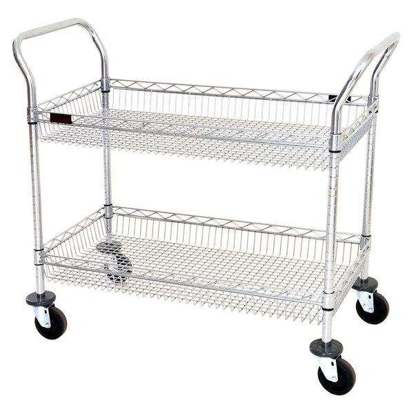 "Eagle Group WBC1836C-2B 18"" x 36"" Two Shelf Chrome Utility Cart with Wire Basket Shelves Main Image 1"