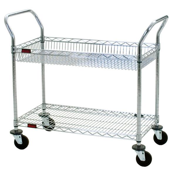 "Eagle Group WBC1836C-1B1W 18"" x 36"" Two Shelf Chrome Utility Cart with Top Basket"