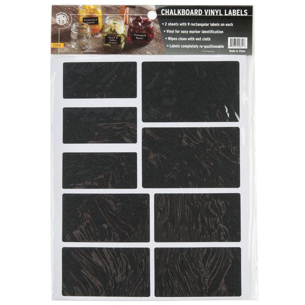 American Metalcraft CSR18 Rectangular Vinyl Chalkboard Labels - 18/Pack