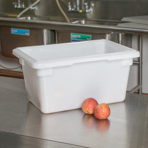 """Cambro 12189P148 18"""" x 12"""" x 9"""" White Poly Food Storage Box"""