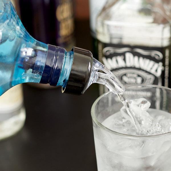 1.125 oz. Clear Spout / Purple Tail Measured Liquor Pourer with Collar - 12/Pack Main Image 5
