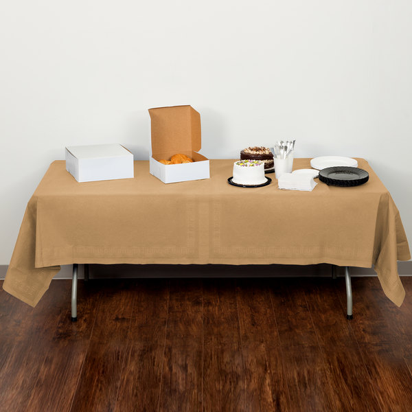 """Creative Converting 710203B 54"""" x 108"""" Glittering Gold Tissue / Poly Table Cover - 24/Case"""