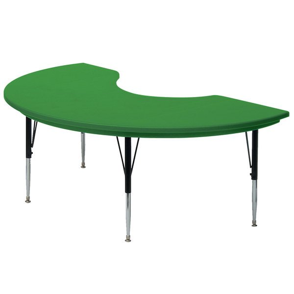 "Correll AR4872 48"" x 72"" Green Plastic Adjustable Height Kidney Table"