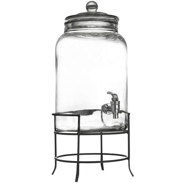 558b6761a72 2.75 Gallon Montgomery Glass Beverage Dispenser with Metal Stand. Main  Picture