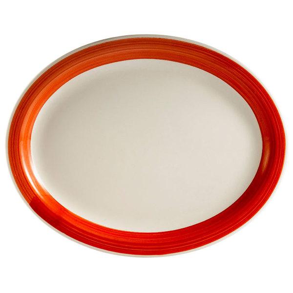 "CAC R-13NR-R Rainbow 11 1/2"" x 9"" Red Narrow Rim Platter - 12/Case Main Image 1"