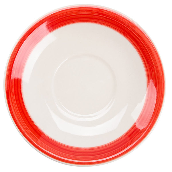 """CAC R-2-R Rainbow 6"""" Red Saucer - 36/Case"""
