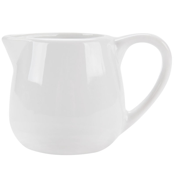 CAC PC-401 Bright White Porcelain 1.5 oz. Creamer with Handle - 48 / Case
