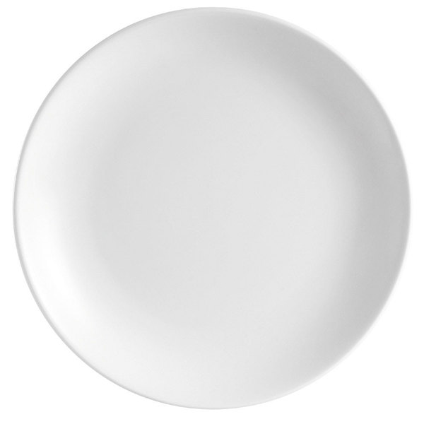 "CAC COP-25 14"" Coupe Bright White Round Porcelain Plate - 6/Case"