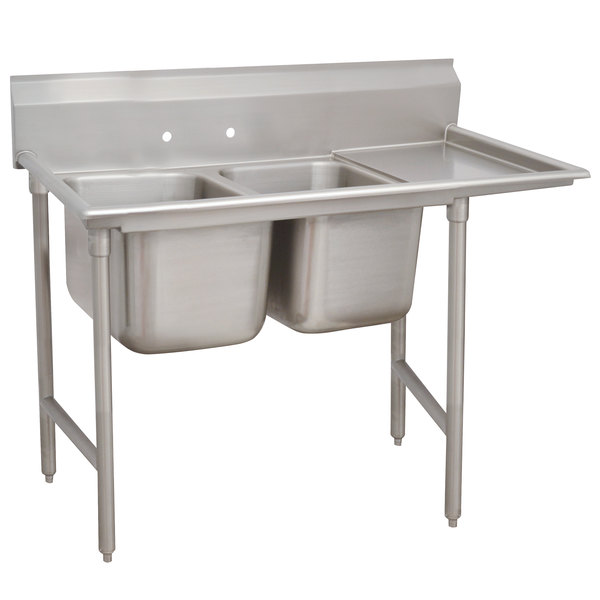 Right Drainboard Advance Tabco 93-2-36-18 Regaline Two Compartment Stainless Steel Sink with One Drainboard - 58""