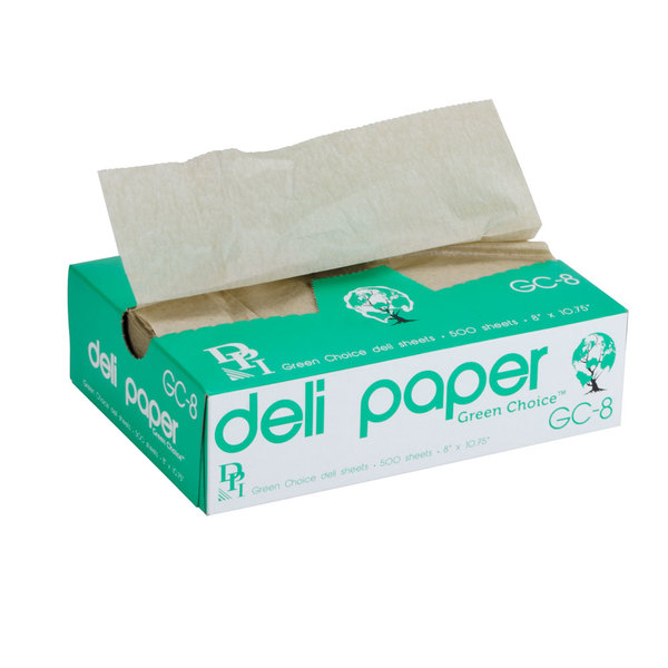 Durable Packaging 8 inch x 10 3/4 inch Green Choice Interfolded Kraft Unbleached Brown Soy Wax Deli Sheets
