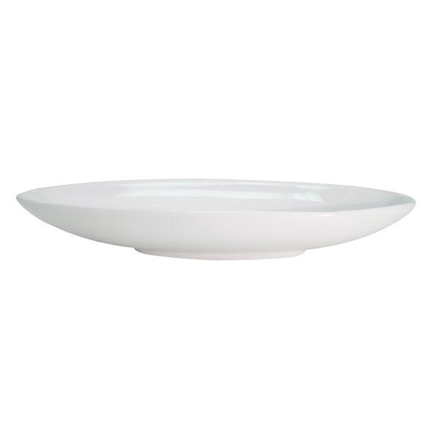 CAC RCN-B416 32 oz. Bright White Rolled Edge Porcelain Gondola Bowl - 12/Case