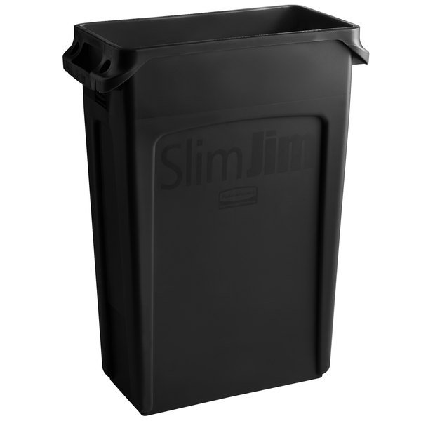 Green Sold as 1 Each Plastic 23gal Slim Jim Recycling Container w//Venting Channels