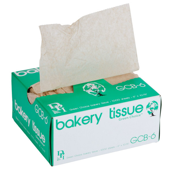 """Box of 1000 Durable Packaging 6"""" x 10 3/4"""" Green Choice Interfolded Kraft Unbleached Brown Soy Wax Bakery Tissue"""