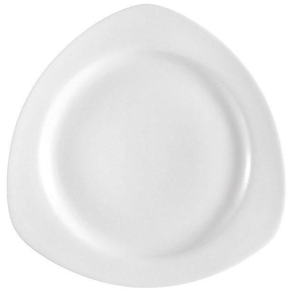 "CAC CPT-20 Camptown 11 1/4"" Super Bright White Triangle China Plate - 12/Case"