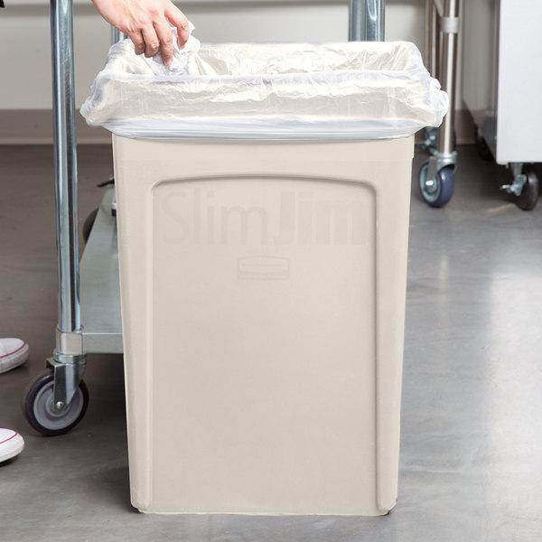 Rubbermaid FG354060BEIG 92 Qt. / 23 Gallon Slim Jim Beige Trash Can