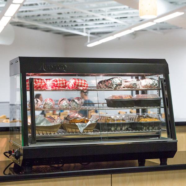"Avantco HDC-36 36"" Self Service 3 Shelf Countertop Heated Display Warmer with Sliding Doors - 110V, 1500W"