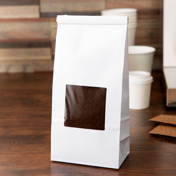 1 lb. White Customizable Tin Tie Cookie / Coffee / Donut Bag with Window - 1000/Case