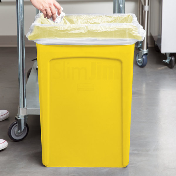 rubbermaid 23 gallon slim jim yellow trash can