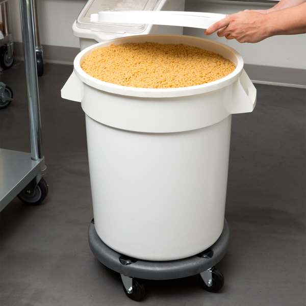 Continental 27420IBKIT 20 Gallon White Ingredient Bin / Trash Can, Lid, and Dolly Kit