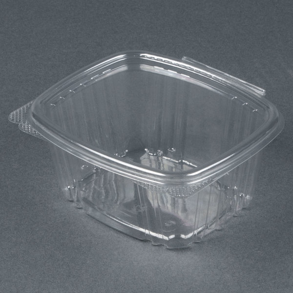 Genpak AD16 5 3/8 inch x 4 1/2 inch x 2 5/8 inch 16 oz. Clear Hinged Deli Container - 200/Case