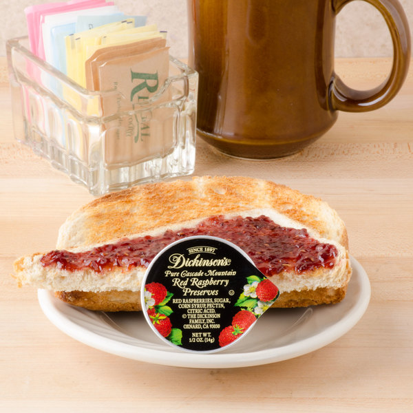Dickinson's Pure Cascade Mountain Red Raspberry Preserves .5 oz. Portion Cups - 200/Case Main Image 4