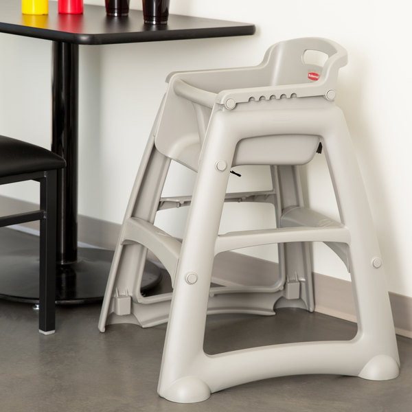 Rubbermaid FG781408PLAT Platinum Sturdy Chair Restaurant High Chair without Wheels (Ready to Assemble)