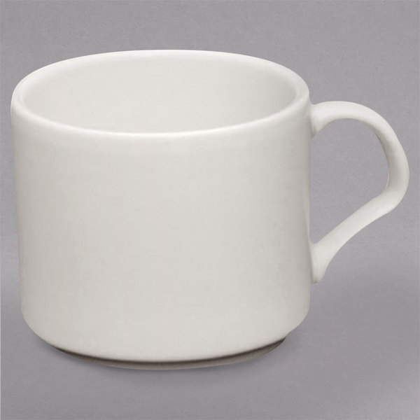 Homer Laughlin 12042100 11 oz. RE-21 Ivory (American White) Stackable Cup - 36/Case