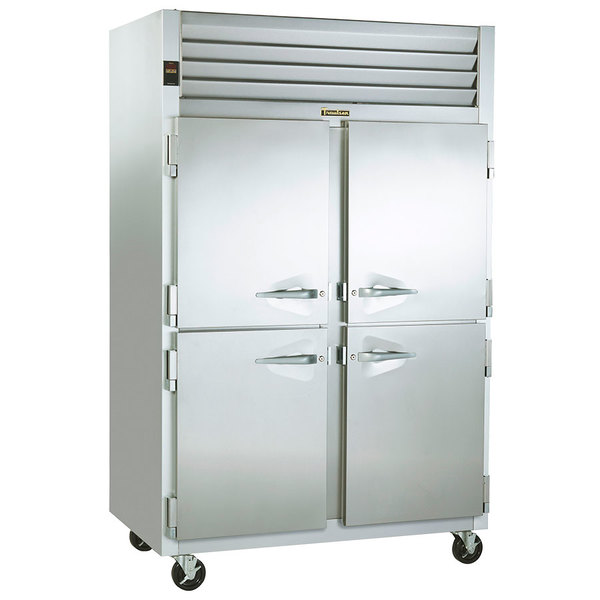 Traulsen G24304P 2 Section Pass-Through Half Door Hot Food Holding Cabinet with Left / Right Hinged Doors Main Image 1
