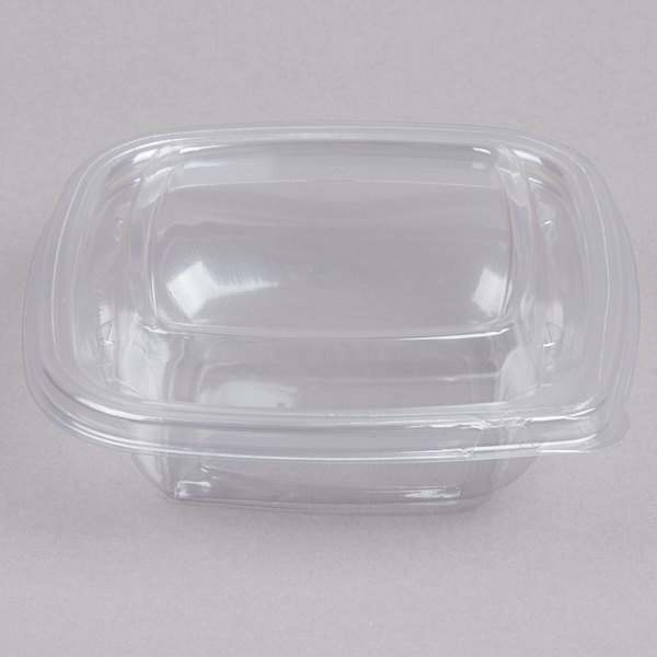 Sabert C15008TR250 Bowl2 8 oz. Clear PETE Square Tamper Evident Bowl with Lid - 250/Case