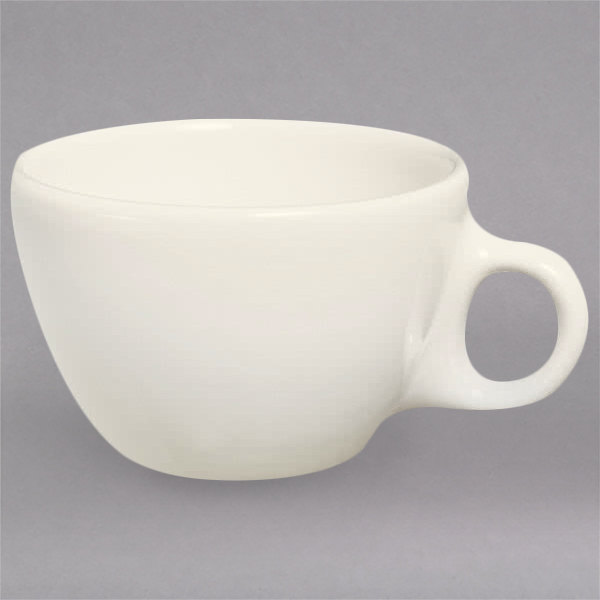 Homer Laughlin 10200 7.5 oz. Ivory (American White) Rolled Edge China Ovide Cup - 36/Case