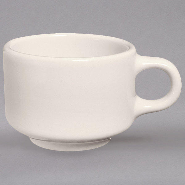 Homer Laughlin 102800 8 oz. Ivory (American White) Stackable Patriot Cup - 36/Case
