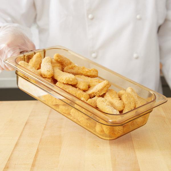 "Carlisle 30860H13 StorPlus 1/3 Size Amber High Heat Plastic Food Pan with Handle - 2 1/2"" Deep Main Image 2"