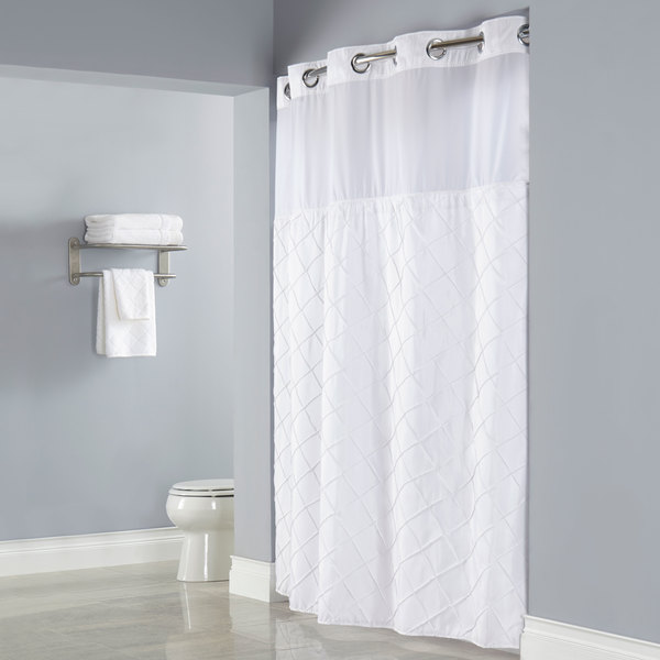 Hookless HBH12PTK01SL77 White Pintuck Shower Curtain With Chrome Raised Flex On Rings Its A Snap