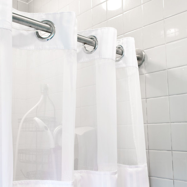 HBH53DTB01CRX White Double H Shower Curtain with Chrome Raised ...