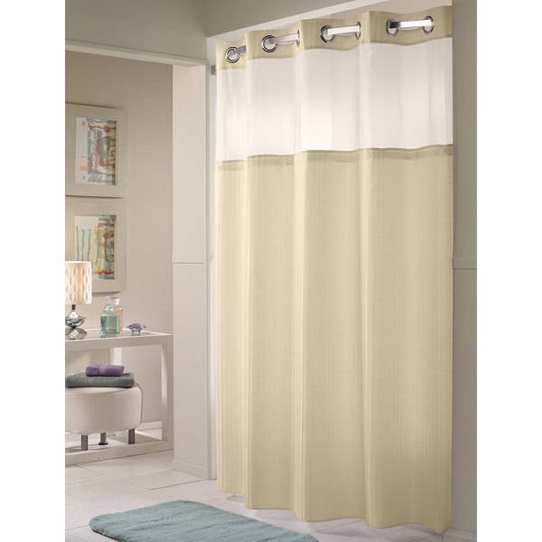 Hookless HBH53DTB05CR Beige Double H Shower Curtain With Chrome Raised Flex On Rings Its A Snap Polyester Liner Magnets And Poly Voile Translucent
