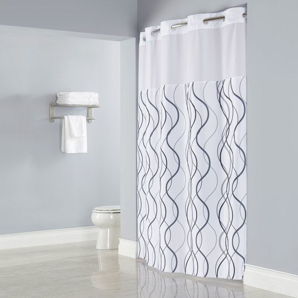 Hookless HBH49WAV01SL77 White With Gray Waves Shower Curtain With Matching  Flat Flex On Rings, ...