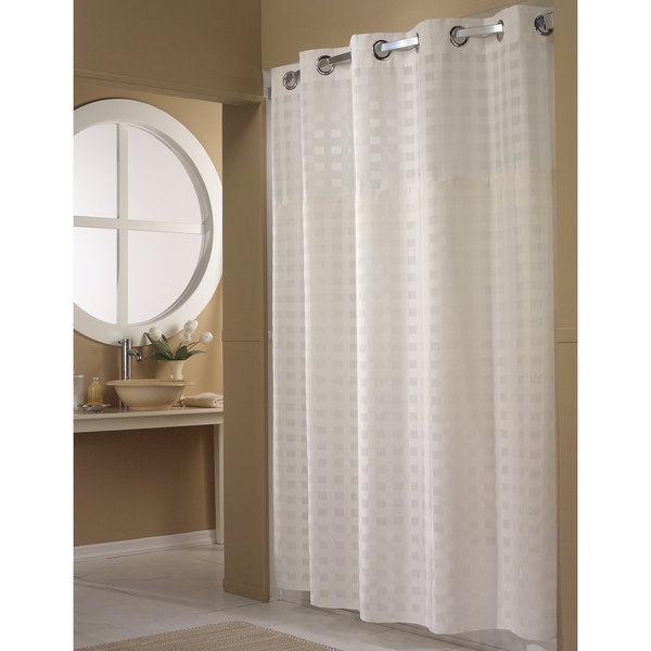 HBH65D201X White Shimmy Square Shower Curtain with Chrome Raised ...