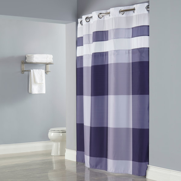 Hookless HBH49DWN68SL77 Purple Print Devan Shower Curtain With Chrome  Raised Flex On Rings, Itu0027s A Snap! Polyester Liner With Magnets ...