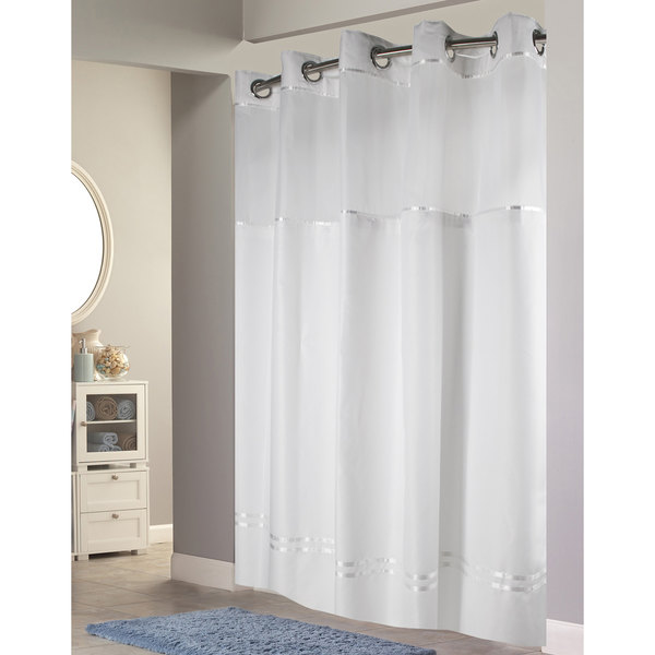 Hookless HBH40E257 White With Stripe Escape Shower Curtain Chrome Raised Flex On Rings