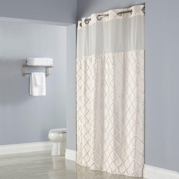 Hookless HBH12PTK05SL77 Beige Pintuck Shower Curtain With Chrome Raised Flex On Rings Its A Snap Polyester Liner Magnets And Poly Voile Translucent