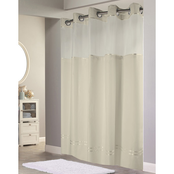 Hookless HBH40E258 Beige With Stripe Escape Shower Curtain Chrome Raised Flex On Rings