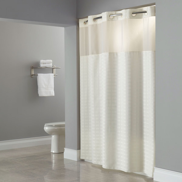 Hookless HBH43MYS05 Beige Madison Shower Curtain with Matching Flat ...