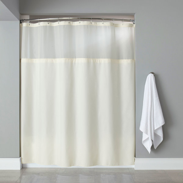 Hooked HBG40MYS05 Beige Polyester Premium Shower Curtain With Buttonhole Header Sheer Voile Window And Grommets
