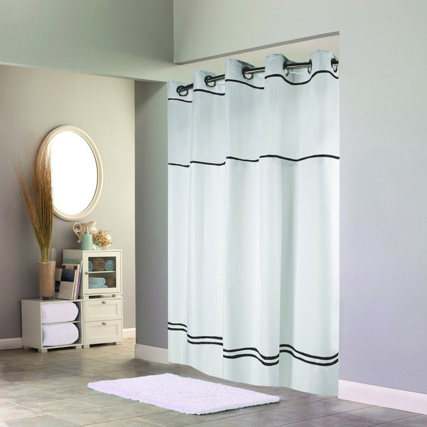 Hookless HBH40MYS0110SL74 White With Black Stripe Escape Shower Curtain Chrome Raised Flex On Rings Its A Snap