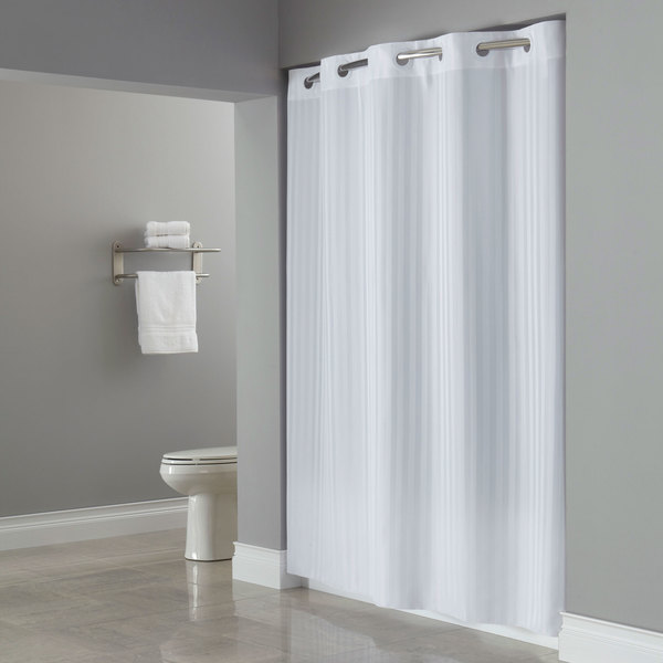 Hookless Hbh35vic0177 White Victorian Stripe Shower Curtain With Matching Flat Flex On Rings And Weighted Corner