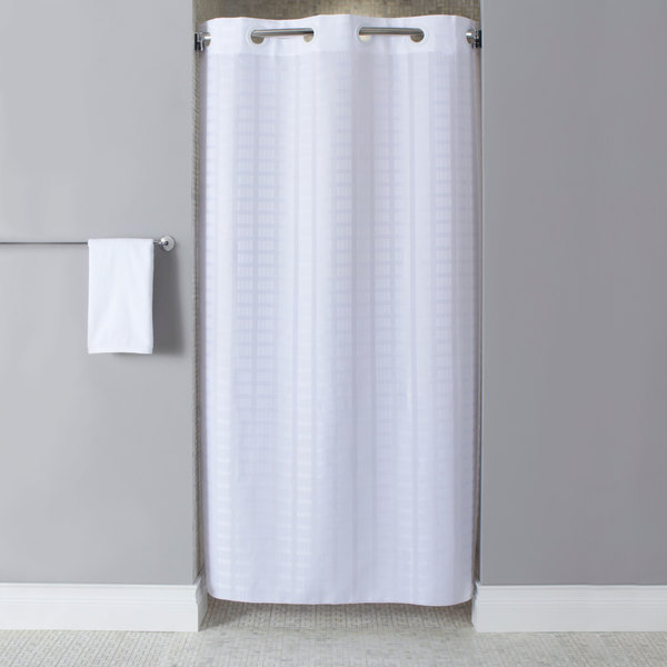 Hookless HBH43LIT01SX White Stall Size Litchfield Shower Curtain ...