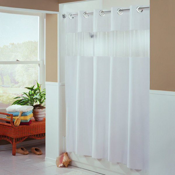 Hookless HBH41BUB01WS White The Major Shower Curtain With Matching Flat Flex On Rings Weighted Corner Magnets